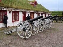 Kanonen an Vardøhus-Festung, Norwegen stockbilder