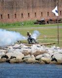 Kanonenfeuer Fort James Jackson Lizenzfreies Stockbild