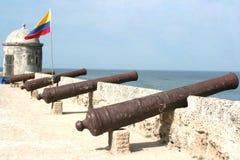 kanoner cartagena arkivbild