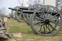 Kanoner i Gettysburg medborgareslagfält Royaltyfria Bilder