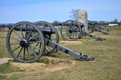Kanoner i Gettysburg medborgareslagfält Arkivfoto