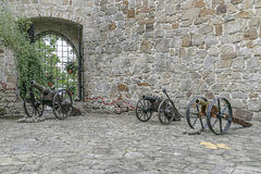 Kanoner i slotten Tropsztyn i Polen Arkivbild