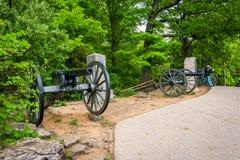 Kanoner på liten rund överkant, i Gettysburg, Pennsylvania Royaltyfria Bilder