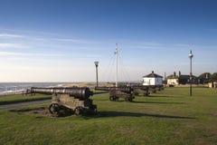 Kanoner på vapenkullen, Southwold, Suffolk, England, Europa Royaltyfri Bild