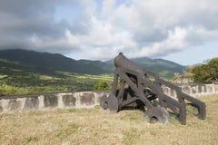 Kanoner som bevakar muren med tinnar Royaltyfri Bild