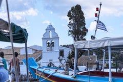 Kanoni, l'église de Panagia Vlacherna et l'île de souris sur l'île grecque de Corfou Photo stock