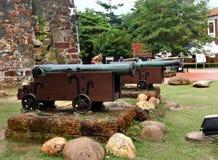 Kanonnen, een Famosa-Fort, Malacca, Maleisië stock foto's