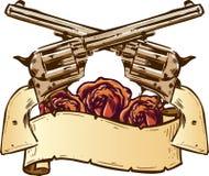 Kanonnen en rozen met bannerillustratie stock illustratie