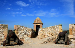 Kanonnen langs de muren van Tarragona, Spanje Royalty-vrije Stock Afbeelding