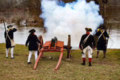 Kanonnen voor Algemeen Washington in brand dat worden gestoken dat Royalty-vrije Stock Afbeelding