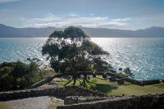 Kanony Sao Jose da Ponta Grossa forteca - Florianopolis, Santa Catarina, Brazylia obraz stock
