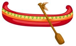 Kanoten med paddlar royaltyfri illustrationer