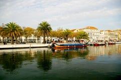 Kanoter i Aveiro, Portugal arkivbilder
