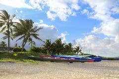 Kanoter på stranden fotografering för bildbyråer