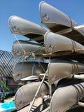 Kanoter som staplas på en släp, USA royaltyfria foton