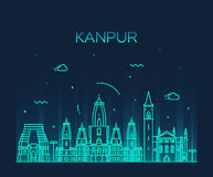 Kanpur skyline detailed vector illustration linear Royalty Free Stock Image