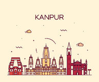 Kanpur skyline detailed vector illustration linear Royalty Free Stock Photo