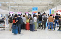 Kansai airport Peach airline check in counter Japan Stock Photo