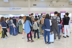 Kansai airport Peach airline check in counter Japan Stock Images