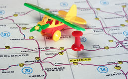 Kansan USA map airplane Stock Image