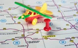 Kansan USA map airplane Stock Image