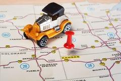 Kansan USA map retro car Royalty Free Stock Photo