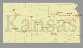 Kansas accurate vector exact detailed State Map with Community A Royalty Free Stock Photos