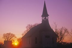 A Kansas church at sunset Royalty Free Stock Photography