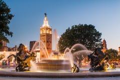 Kansas City Миссури город фонтанов Стоковые Фотографии RF