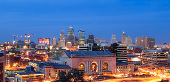 Kansas City. Downtown Kansas city at night from the Liberty Memorial royalty free stock photos