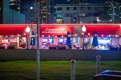 Kansas City Barbeque in San Diego by night - CALIFORNIA, USA - MARCH 18, 2019 royalty free stock photo