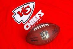 Kansas City Chiefs. ZAGREB , CROATIA - NOVEMBER 17, 2015 :  NFL Kansas City Chiefs club equipment with NFL official ball, product shot Royalty Free Stock Image