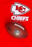 Kansas City Chiefs. ZAGREB , CROATIA - NOVEMBER 17, 2015 :  NFL Kansas City Chiefs club equipment with NFL official ball, product shot Stock Image