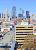 Kansas City cityscape. KANSAS CITY CIRCA DECEMBER 2016. Like many other Midwestern urban metropolitan areas, Kansas City has been experiencing a boom over the stock image