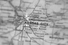 Kansas City, een stad in U S stock afbeelding