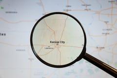 Kansas City, Estados Unidos mapa pol?tico imagem de stock royalty free