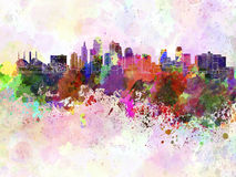 Kansas City horisont i vattenfärgbakgrund royaltyfri illustrationer