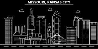 Kansas City konturhorisont USA - Kansas City vektorstad, amerikansk linjär arkitektur, byggnader stad kansas royaltyfri illustrationer