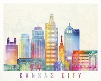 Kansas City landmarks watercolor poster. Colorful Stock Photography