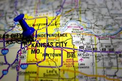 Kansas city map. Missouri map with tack and spotlight focused on kansas city royalty free stock image
