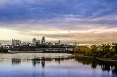 Kansas City Missouri cityscape. A beautiful cityscape view of Kansas City from across the river showing the horizon at dusk, sundown with reflection of city in royalty free stock photography
