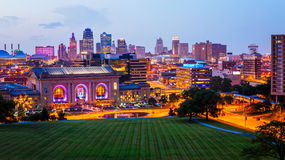 Kansas City, Missouri Skyline at Night Stock Photo