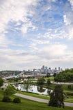Kansas City Missouri horisont, facklig station, byggnader, Arkivfoto