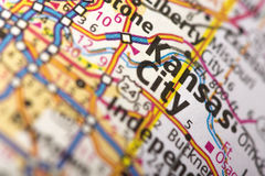 Kansas City, Missouri on map. Closeup of Kansas City, Missouri on a road map of the United States stock image