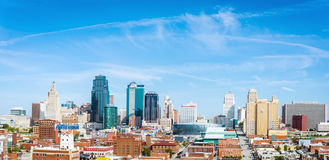 Kansas City, Missouri skyline. Clear skies over Kansas City, Missouri, showcasing city modernization and architecture Stock Image
