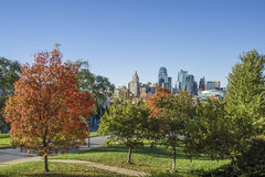 Kansas city Missouri skyline. Fall colors and the Kansas city Missouri skyline royalty free stock photography