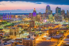 Kansas City, Missouri, USA Skyline. Kansas City, Missouri, USA downtown cityscape at twilight stock photos