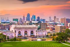 Kansas City, Missouri, USA Skyline. Kansas City, Missouri, USA downtown skyline with Union Station at dusk stock photos