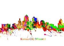 Kansas City Missouri. Watercolor art print of the Skyline of  Kansas City Royalty Free Stock Photography