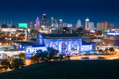 Kansas City Night Skyline Stock Photo